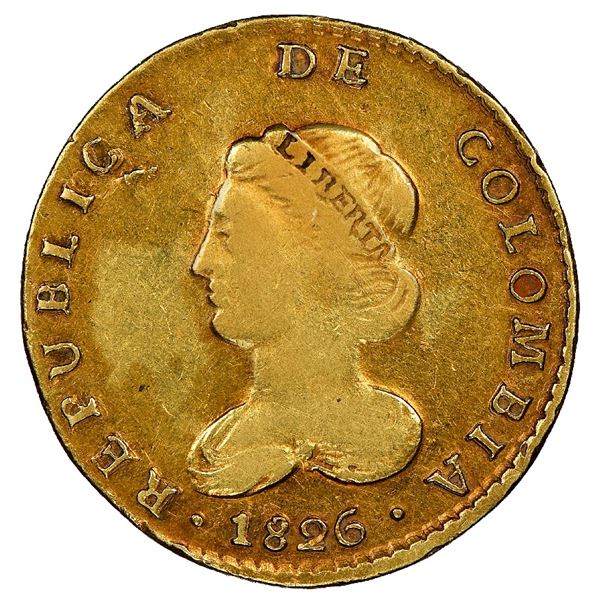 Bogota, Colombia, gold 2 escudos, 1826JF, extremely rare, NGC XF details / rev scratched, finest and