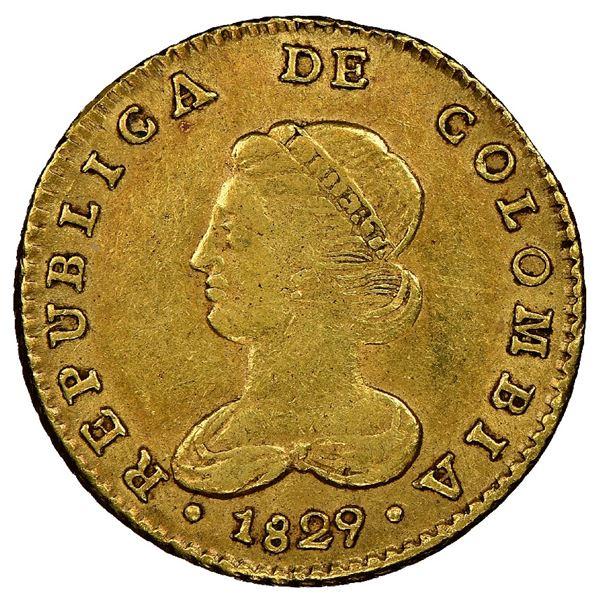 Bogota, Colombia, gold 2 escudos, 1829RS, rare, NGC AU 50, finest known, ex-Eldorado.
