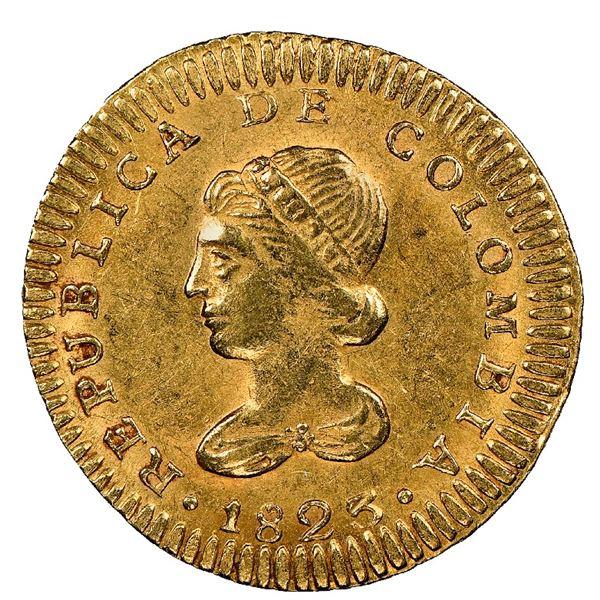 Bogota, Colombia, gold 1 escudo, 1823JF, NGC AU 58.