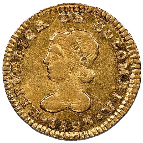 Popayan, Colombia, gold 1 escudo, 1823FM, NGC MS 62.