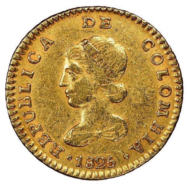 Bogota, Colombia, gold 1 escudo, 1825JF, NGC AU 53.
