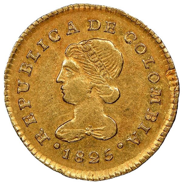 Popayan, Colombia, gold 1 escudo, 1825FM, NGC AU 53, ex-Frank Sedwick (stated on label).