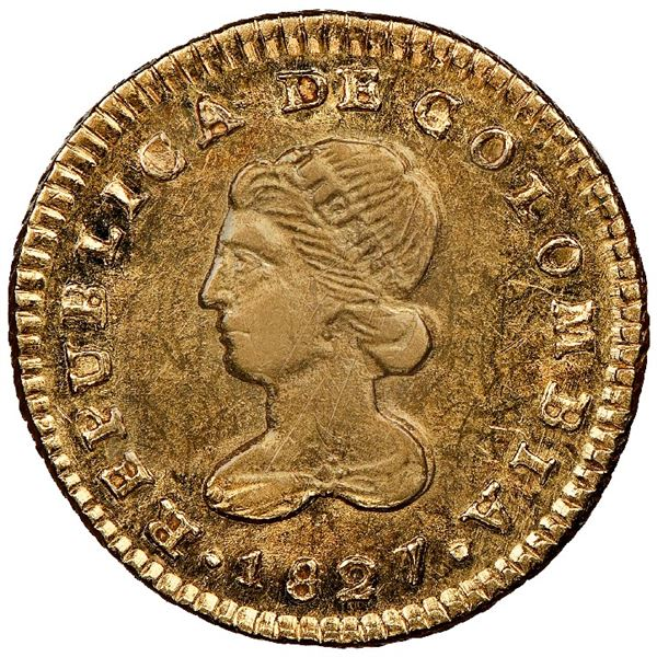 Popayan, Colombia, gold 1 escudo, 1827FM, NGC MS 61, finest known in NGC census.