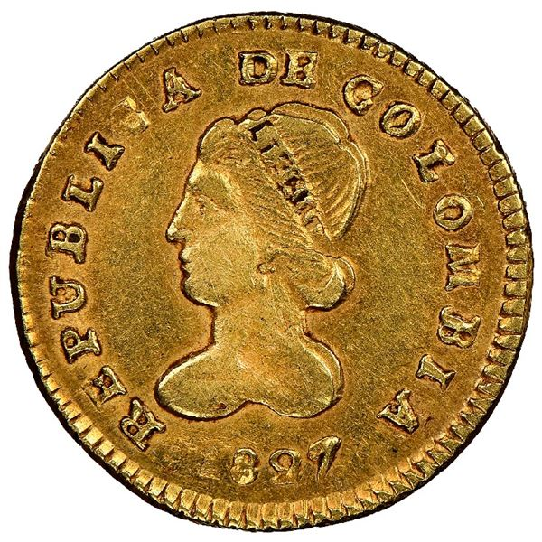 Popayan, Colombia, gold 1 escudo, 1827RU/FM, rare, NGC AU 58, finest and only example in NGC census,