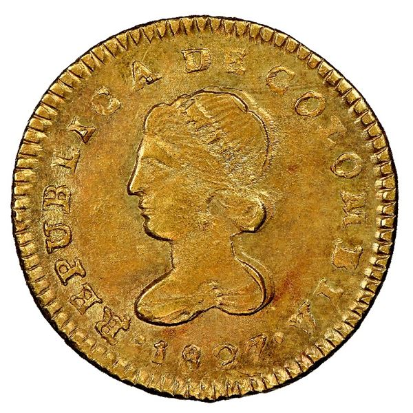 Popayan, Colombia, gold 1 escudo, 1827RU, NGC MS 61, finest known in NGC census, ex-Norweb (stated o