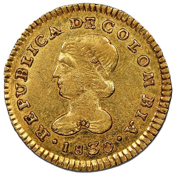 Popayan, Colombia, gold 1 escudo, 1830RU, NGC AU 58, finest known in NGC census.