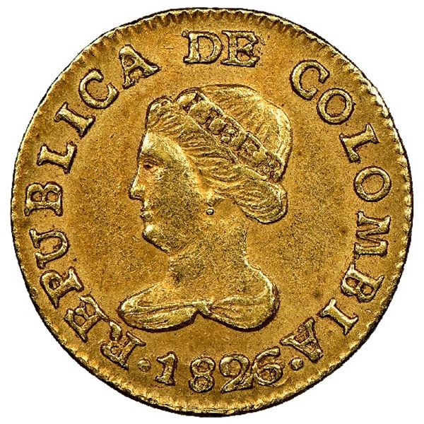 Bogota, Colombia, gold 1 peso, 1826/5JF, NGC AU 58.