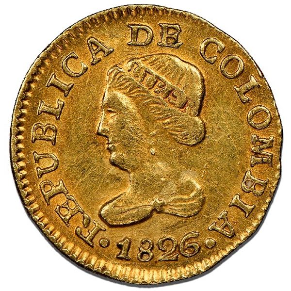 Bogota, Colombia, gold 1 peso, 1826JF, NGC MS 62.
