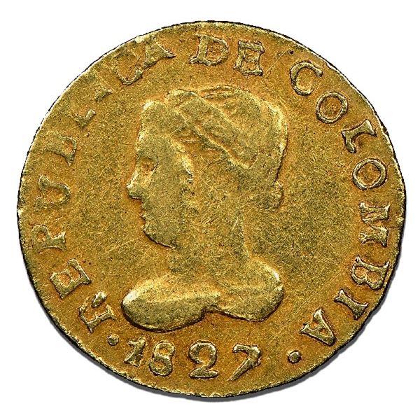 Bogota, Colombia, gold 1 peso, 1827RR, medal axis with BOGOTA facing rim (unique?), NGC VF 35, ex-El