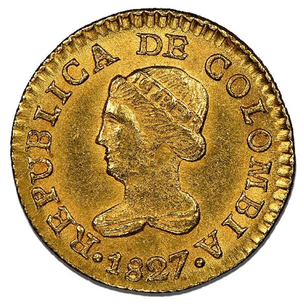 Bogota, Colombia, gold 1 peso, 1827RR, NGC MS 63+, finest known, ex-Eldorado (stated on label).
