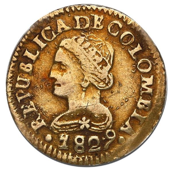 Bogota, Colombia, gold 1 peso, 1829/7JF, very rare, NGC XF details / cleaned.