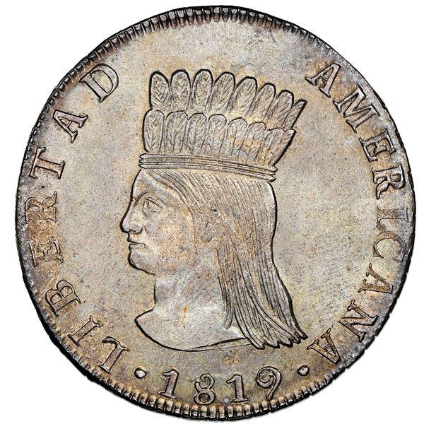 "Bogota, Colombia, 8 reales, 1819JF, Nueva Granada (""Libertad Americana""), NGC MS 64, finest known."