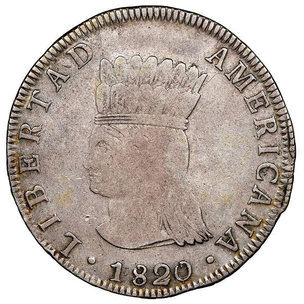 "Bogota, Colombia, 8 reales, 1820/19JF, Nueva Granada (""Libertad Americana""), NGC VF 20, finest known"