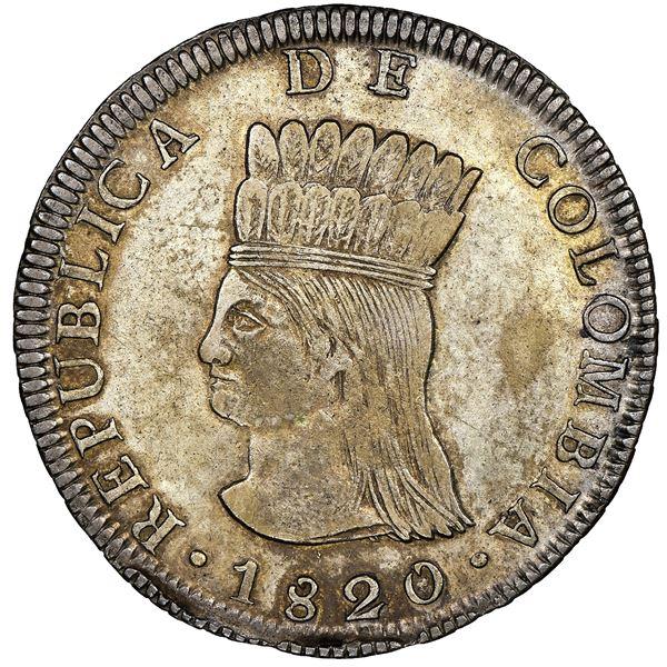 Bogota, Colombia, 8 reales, 1820JF, Republica de Colombia / Nueva Granada mule, rare, NGC AU 53, fin
