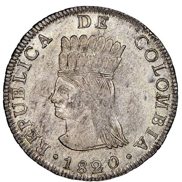 Bogota, Colombia, 8 reales, 1820JF, Cundinamarca, NGC AU 58.