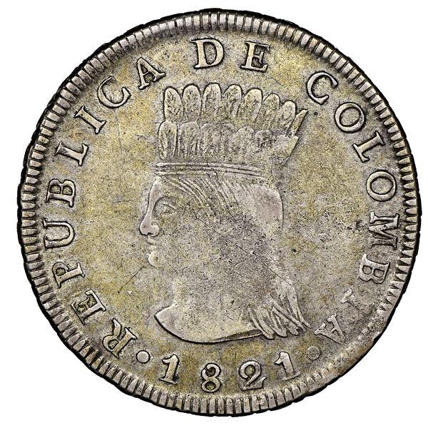 Bogota, Colombia, 8 reales, 1821JF, Cundinamarca, no mintmark, NGC VF 35.