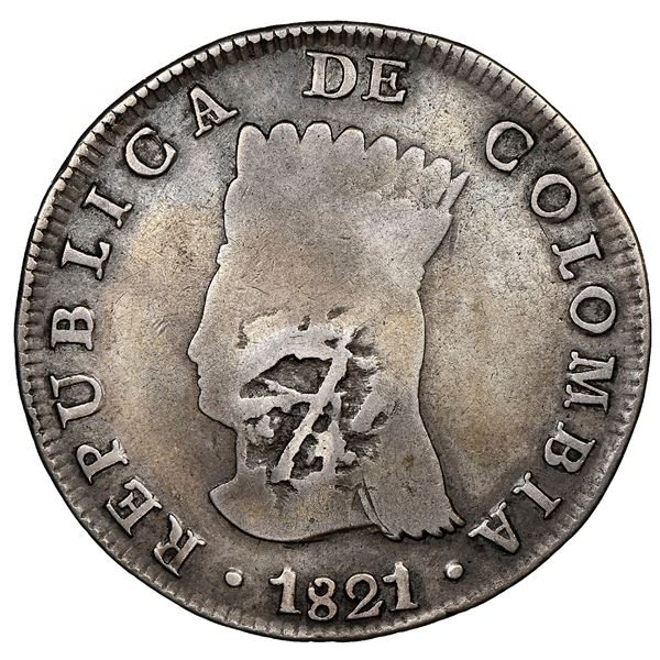 Bogota, Colombia, 8 reales, 1821JF, Cundinamarca, mintmark BA (no dot below A), with pomegranate cou