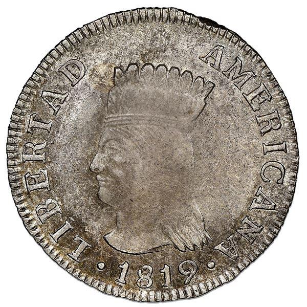 "Bogota, Colombia, 2 reales, 1819JF, Nueva Granada (""Libertad Americana""), denomination in legend, ra"