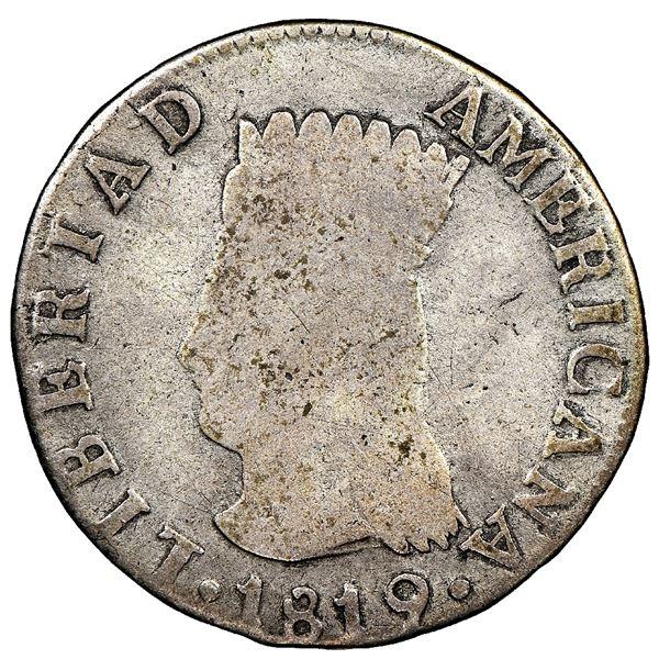 """Bogota, Colombia, 2 reales, 1819JF, Nueva Granada (""""Libertad Americana""""), denomination 2-pomegranate"""