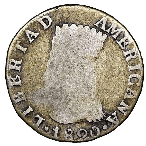 "Bogota, Colombia, 2 reales, 1820JF, Nueva Granada (""Libertad Americana""), rare, NGC G 6, finest and"