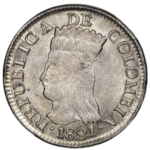 Bogota, Colombia, 2 reales, 1821JF, Cundinamarca, mintmark BA with dots below and in front of the A,