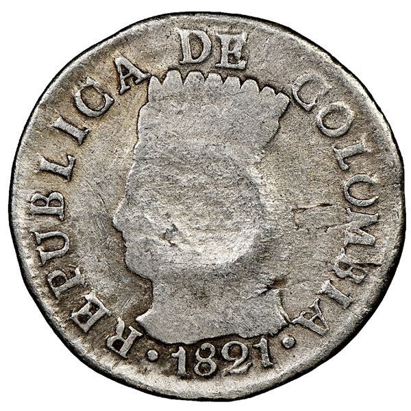 Bogota, Colombia, 2 reales, 1821JF, Cundinamarca, mintmark BA, no dots, with pomegranate countermark