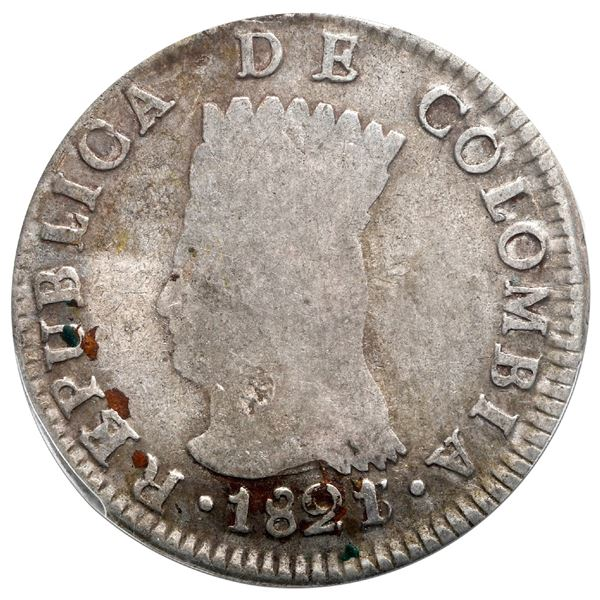 Bogota, Colombia, 2 reales, 1821/3JF, Cundinamarca, mintmark BA, rare, PCGS VF25, finest and only ex