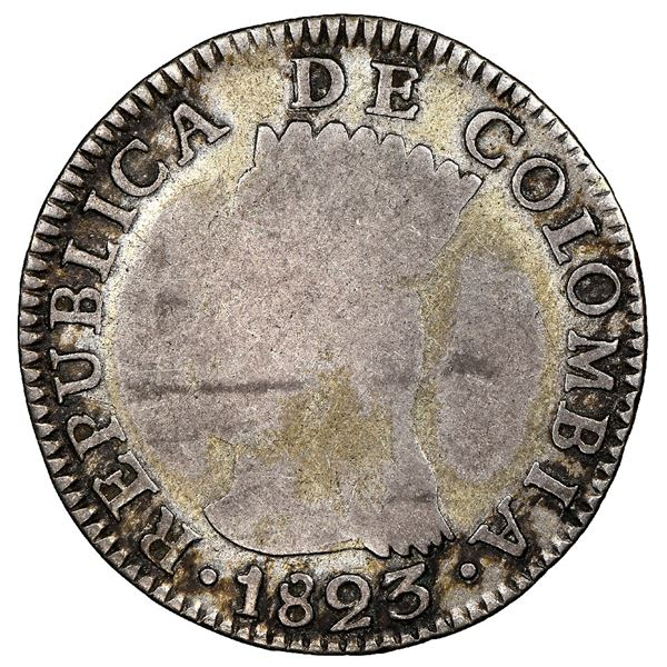 Bogota, Colombia, 2 reales, 1823JF, Cundinamarca, very rare, NGC VG 8, finest and only example in NG