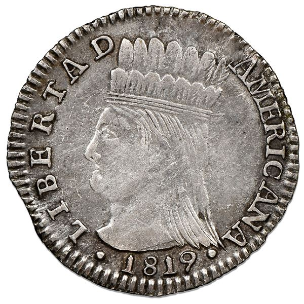 "Bogota, Colombia, 1 real, 1819JF, Nueva Granada (""Libertad Americana""), NGC XF 45."