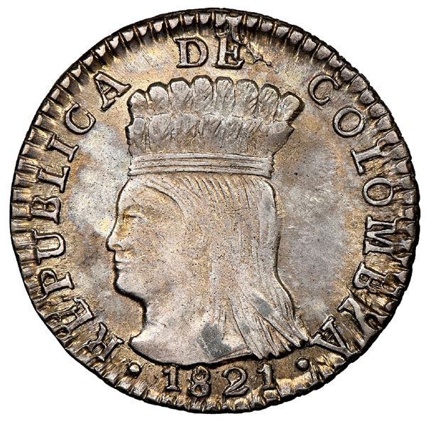 Bogota, Colombia, 1 real, 1821JF, Cundinamarca, mintmark BA with dot below A, NGC MS 63, ex-Whittier