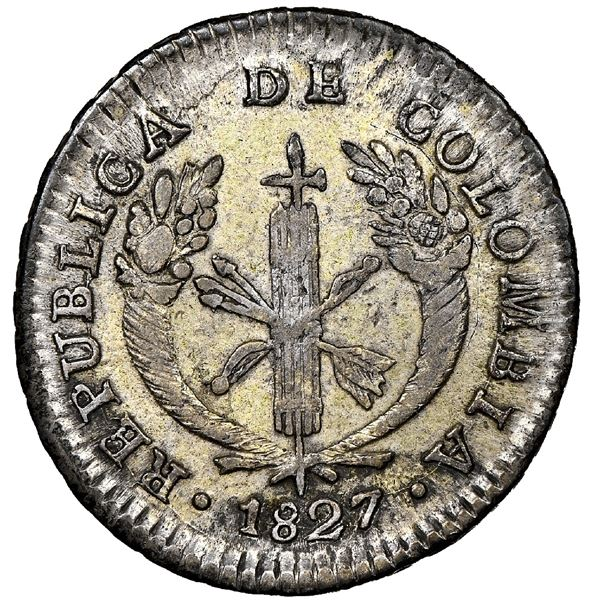 Bogota, Colombia, 1 real, 1827RR, NGC AU 55.