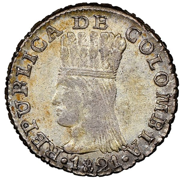 Bogota, Colombia, 1/2 real, 1821JF, Cundinamarca, mintmark BA, rare, NGC MS 61, ex-Norweb, ex-Dana R