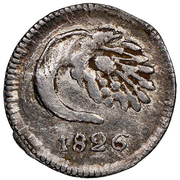 Popayan, Colombia, 1/4 real, 1826RU, rare, NGC AU 55.