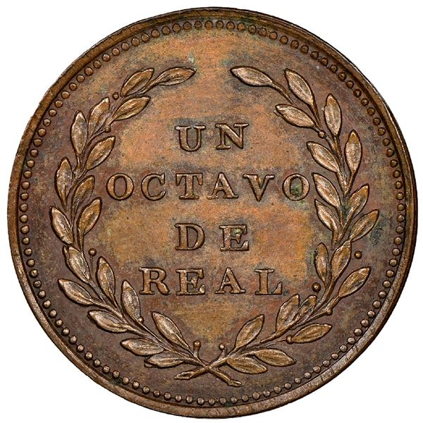 Colombia, copper pattern 1/8 real, 1825-dated, first pattern of Colombia, unique and unlisted, NGC M