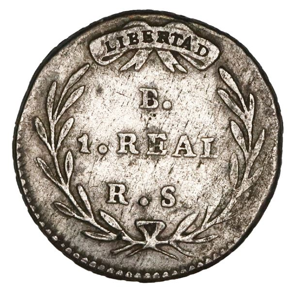 Bogota, Colombia, 1 real, 1834RS, rare, NGC VF details / cleaned.