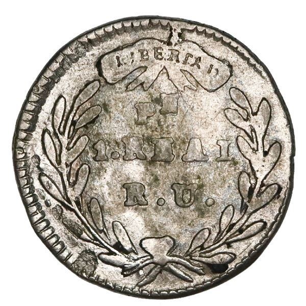 Popayan, Colombia, 1 real, 1834RU, rare, NGC VF details / cleaned.