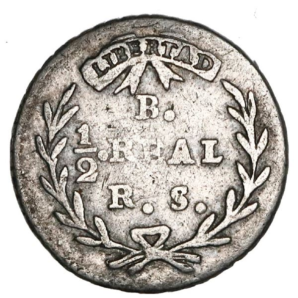 Bogota, Colombia, 1/2 real, 1835RS, rare, NGC VF details / cleaned, finest and only example in NGC c