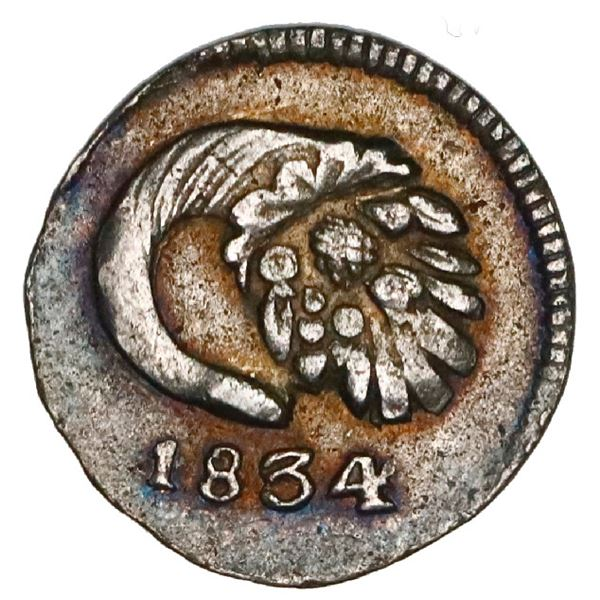Popayan, Colombia, 1/4 real, 1834RU, NGC AU 50.