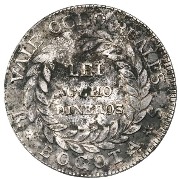 White-metal pattern for Bogota, Colombia, 8 reales, 1839RS, unique, NGC AU details / environmental d