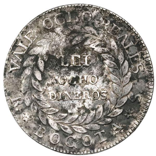 White-metal pattern for Bogota, Colombia, 8 reales, 1839RS, unique, NGC AU details / environmental d