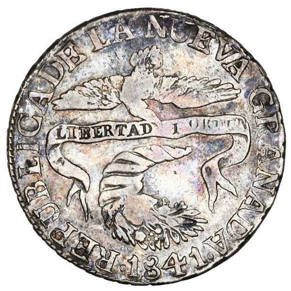 Popayan, Colombia, 2 reales, 1841VU/RU, rare, NGC VF details / cleaned, Restrepo Plate.