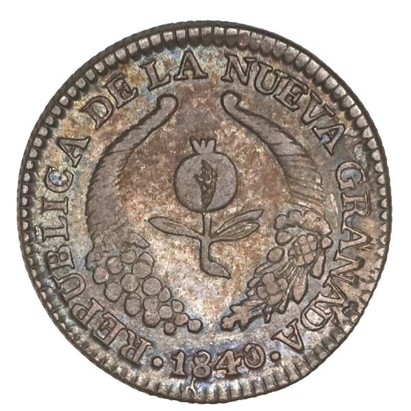 Bogota, Colombia, 1 real, 1840/39RS, NGC XF 45.