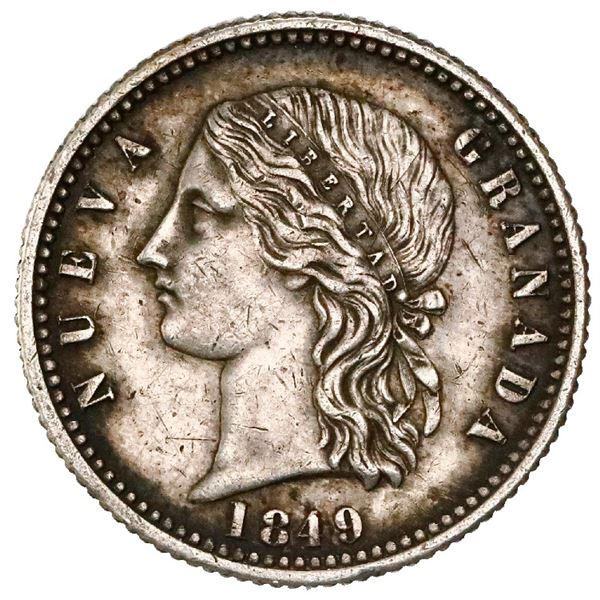 Silver proof pattern for Bogota, Colombia, gold 4 pesos (6.4516 grams), 1849, reeded edge, medal axi