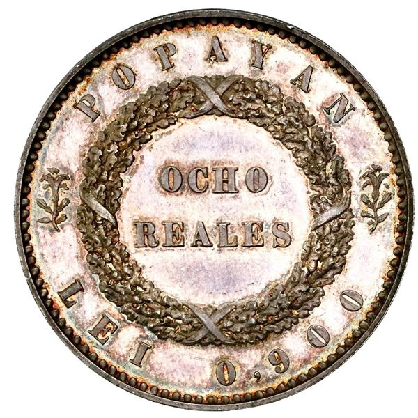 Silver proof pattern for Popayan, Colombia, 8 reales, 1849, plain edge, medal axis, rare, NGC PF 64,