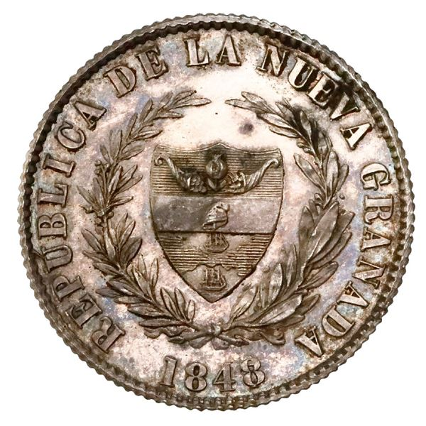 Silver proof pattern for Popayan, Colombia, 2 reales, 1848/7, reeded edge, rare, NGC PF 60.