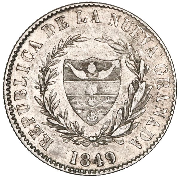 Bogota, Colombia, 2 reales, 1849, new wreath and LEI, very rare, NGC AU 53, Restrepo Plate.