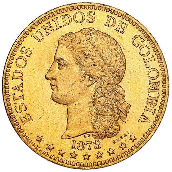 Pair of gilt-bronze uniface proof patterns (obverse and reverse essais) for Medellin, Colombia, gold