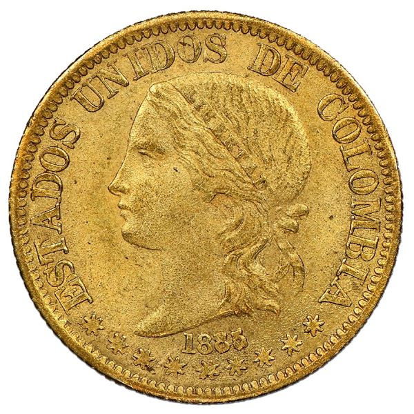 Medellin, Colombia, gold 5 pesos, 1885/74, fineness 0.666/0.900, very rare, NGC MS 63+, finest known