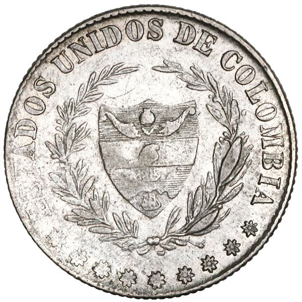 Bogota, Colombia, 2 decimos, 1865, rare, NGC AU 50, finest known in NGC census, Restrepo Plate.