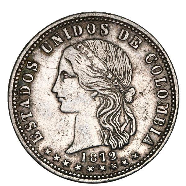 Medellin, Colombia, 2 decimos, 1872, classic effigy, rare, NGC XF 40, Restrepo Plate.